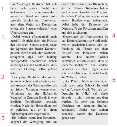 Text in gleichlange Absätze unterteilt, aber nicht nach inhaltlichen und sprachlichen Gesichtspunkten. Quelle: dpa